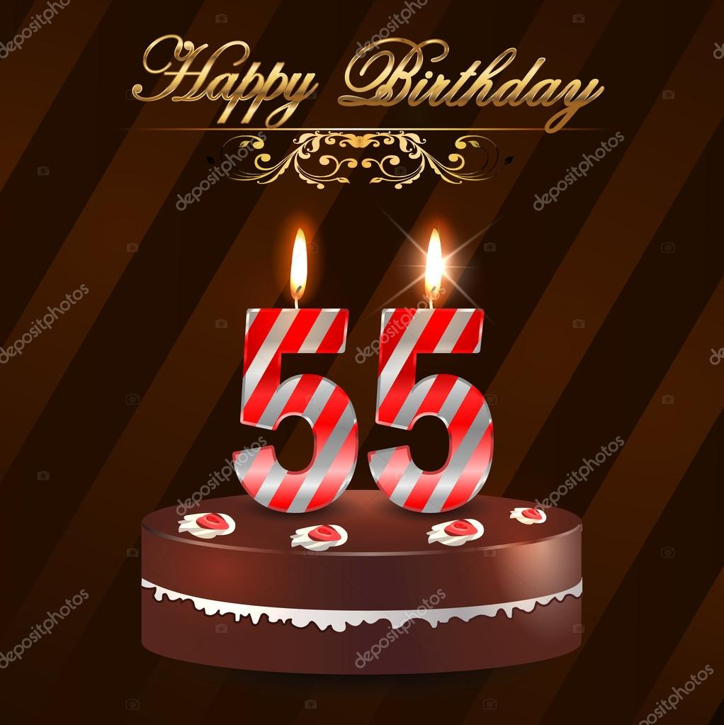 55 Year Happy Birthday Card With Cake And Candles 55th