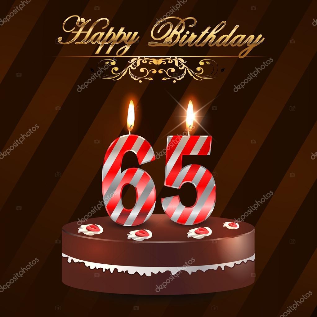 födelsedagskort 65 år 65 år grattiskort med tårta och ljus, 65: e födelsedag   vektor  födelsedagskort 65 år
