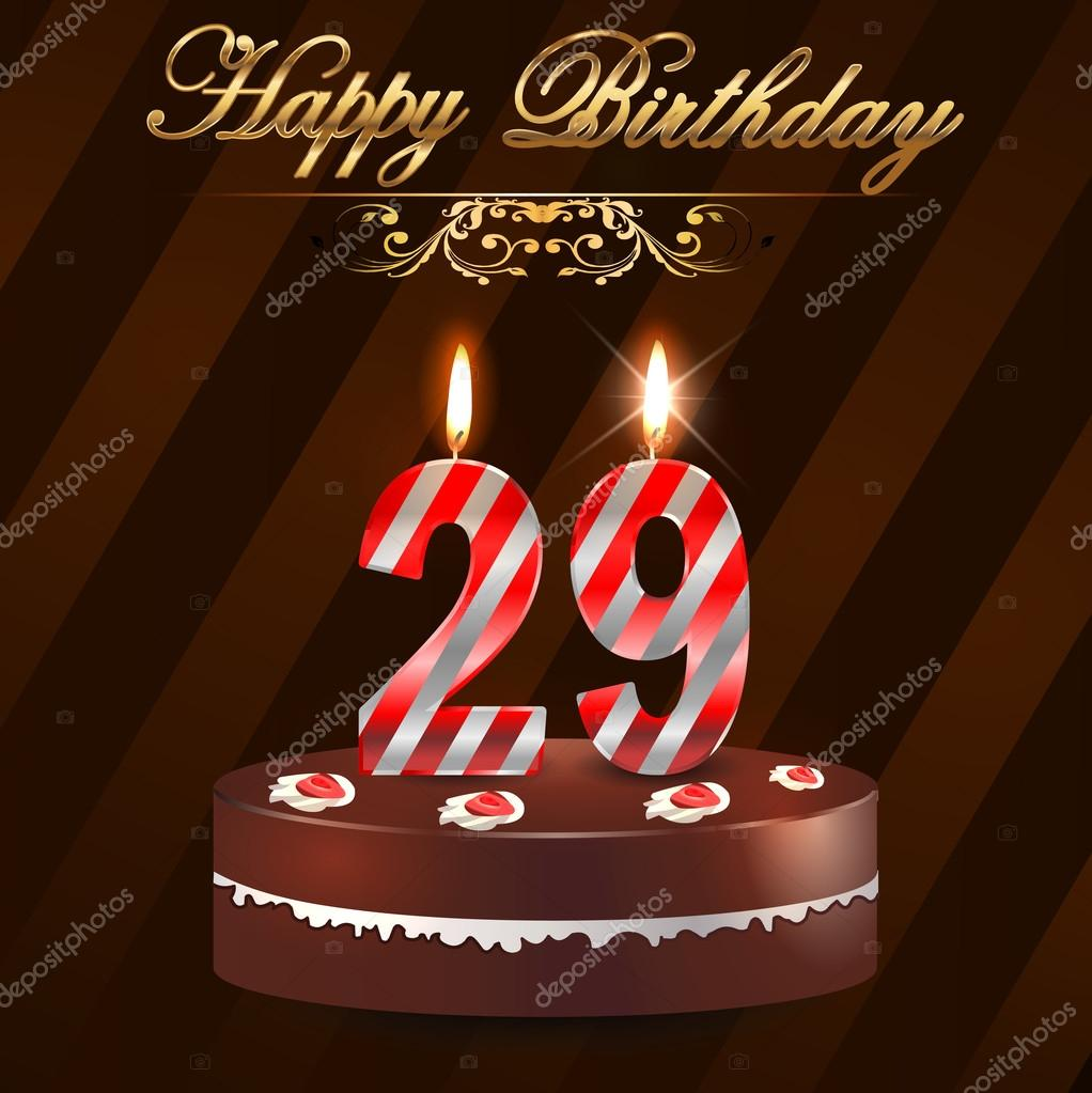 29 Year Happy Birthday Card with cake and candles, 29th birthday - vector  EPS10 —