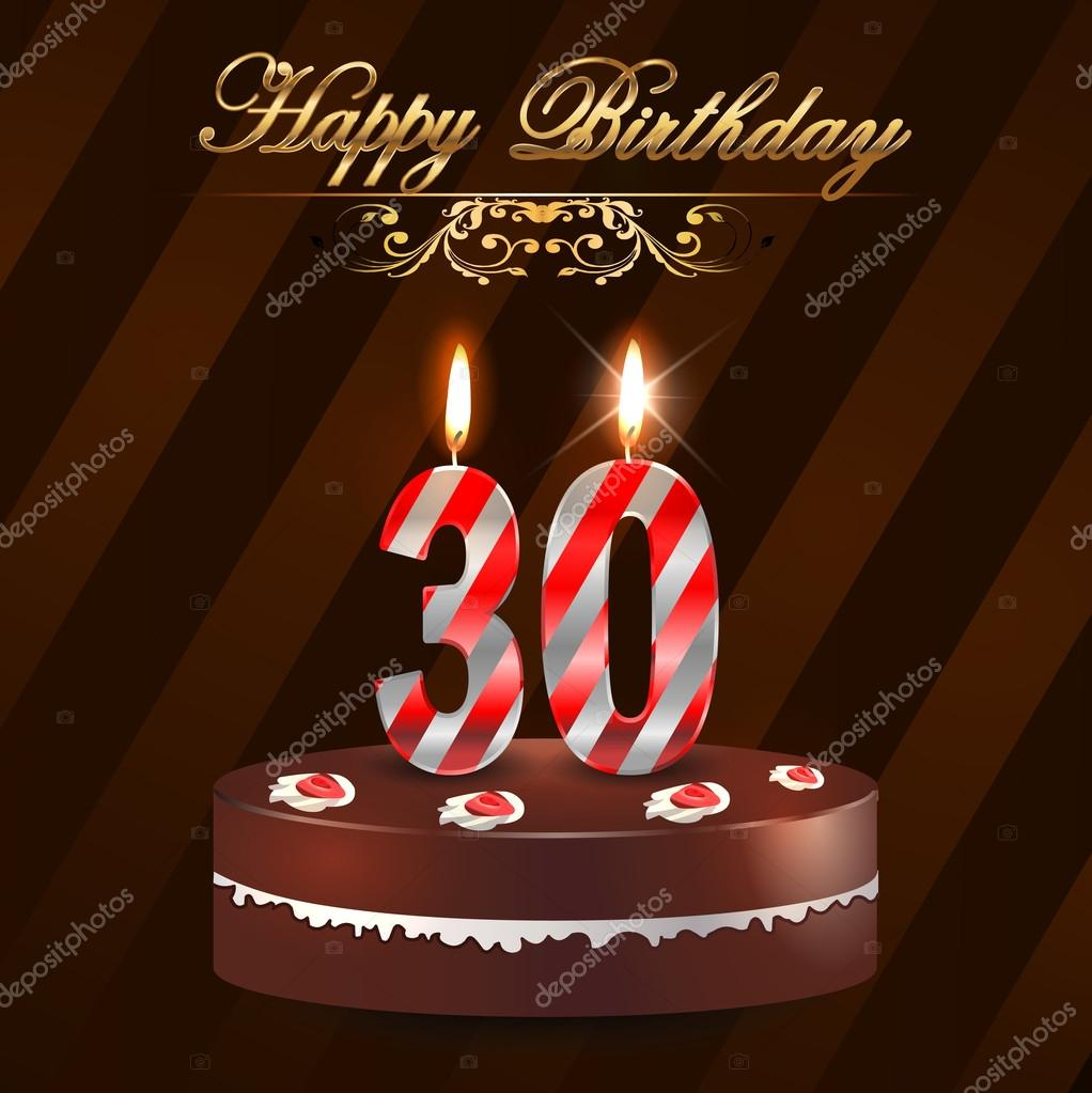 30 Year Happy Birthday Card With Cake And Candles 30th