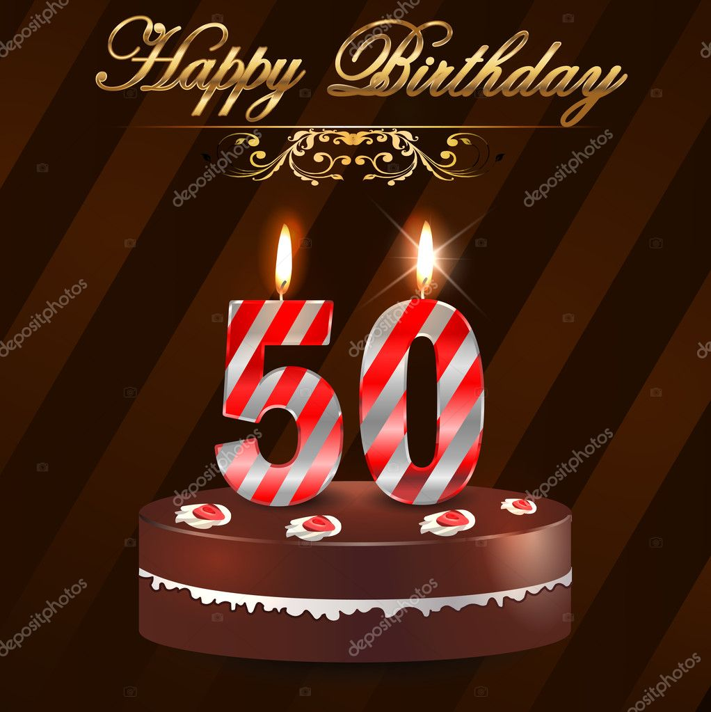 50 Year Happy Birthday Card with cake and candles 50th birthday – Birthday Greetings for 50th Birthday