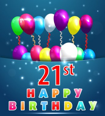 21 Year Happy Birthday Card with balloons and ribbons, 21st birthday - vector EPS10