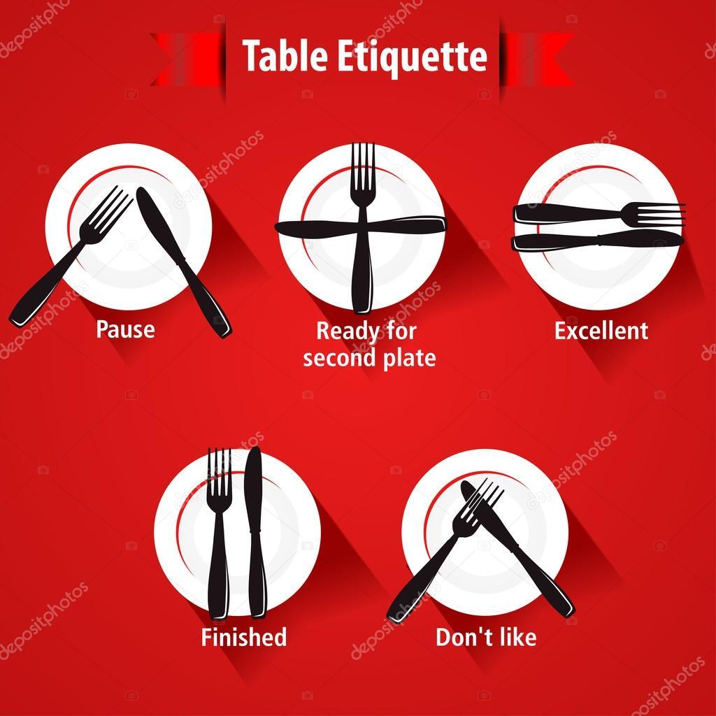 Manera etiqueta y mesa de comedor tenedores y cuchillos de for Comedor vector