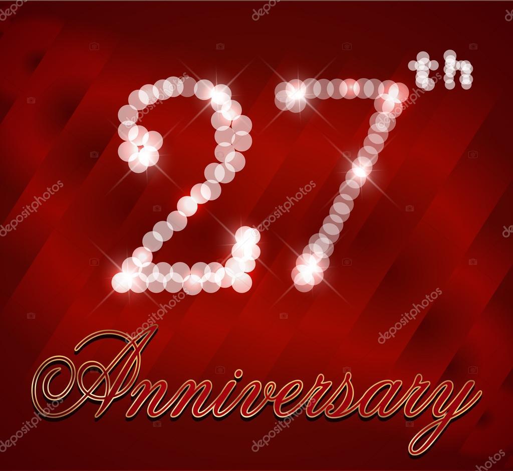27 Jaar Gelukkig Verjaardagskaart 27ste Verjaardag Vector Eps10
