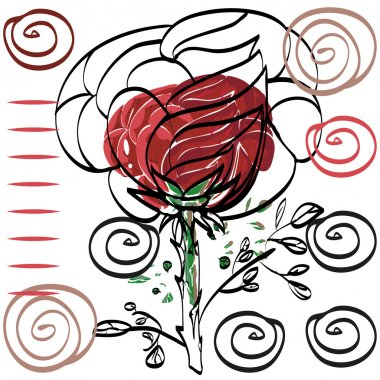 Nothing significant contour drawing rose card for congratulation