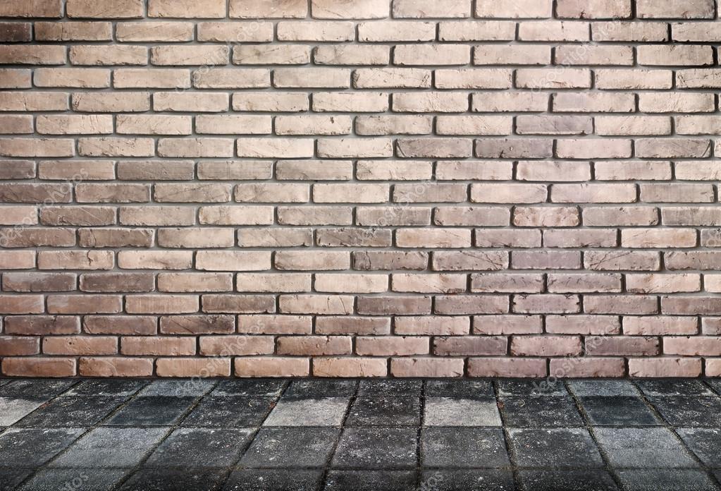 Stenen Muur Interieur : Leeg interieur perspectief bakstenen muur en voetpad stenen grond