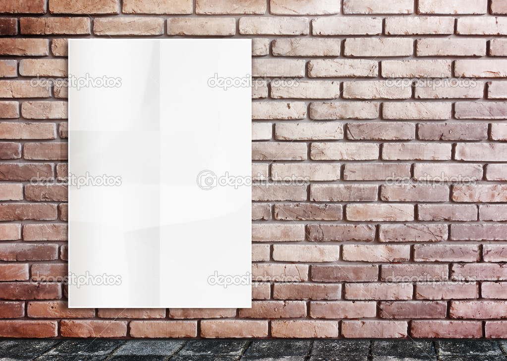 Template- White Crumple Poster on grunge brick wall & footpath g ...