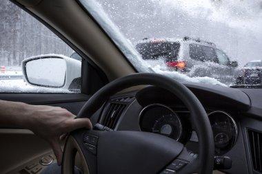 Driving car snow interior