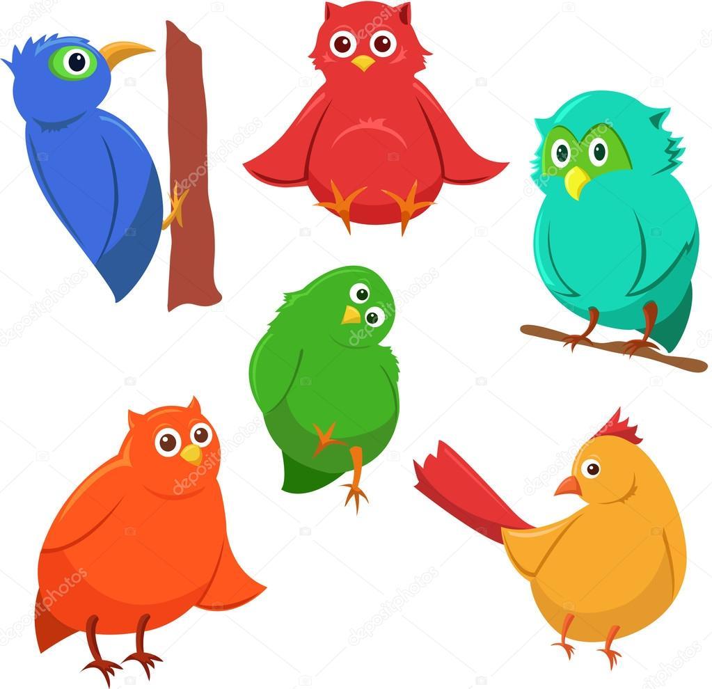 Cartone animato serie di coloratissimi uccelli divertenti