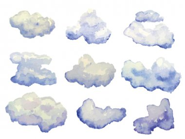 Vector set of watercolor clouds isolated on white