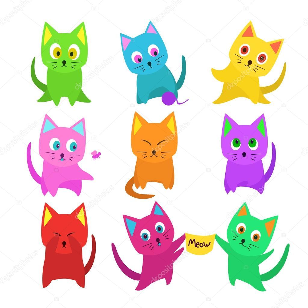 Vector conjunto de gatos graciosos dibujos animados en colores ...