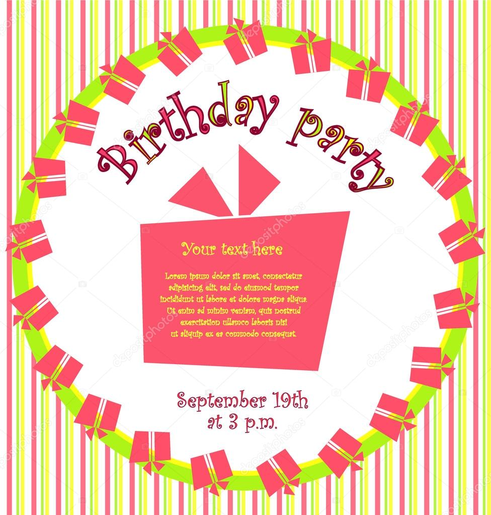 Vector colorful birthday invitation card with gift boxes in circle vector colorful birthday invitation card with gift boxes in circle and stripes on background stock stopboris Images