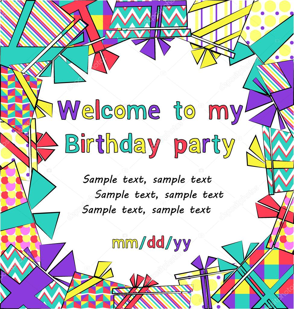Swell Vector Colorful Birthday Invitation Card With T Boxes In Funny Birthday Cards Online Inifofree Goldxyz