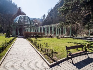 The hot water spring in the Mineral Water Park in Borjomi, Georgia