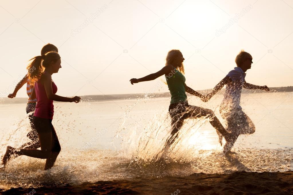 Teenagers at beach