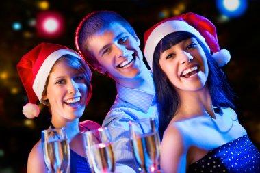 Friends wishing Merry Christmas