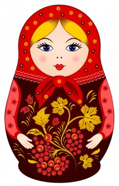 Matryoshka Doll in Khokhloma style with berries