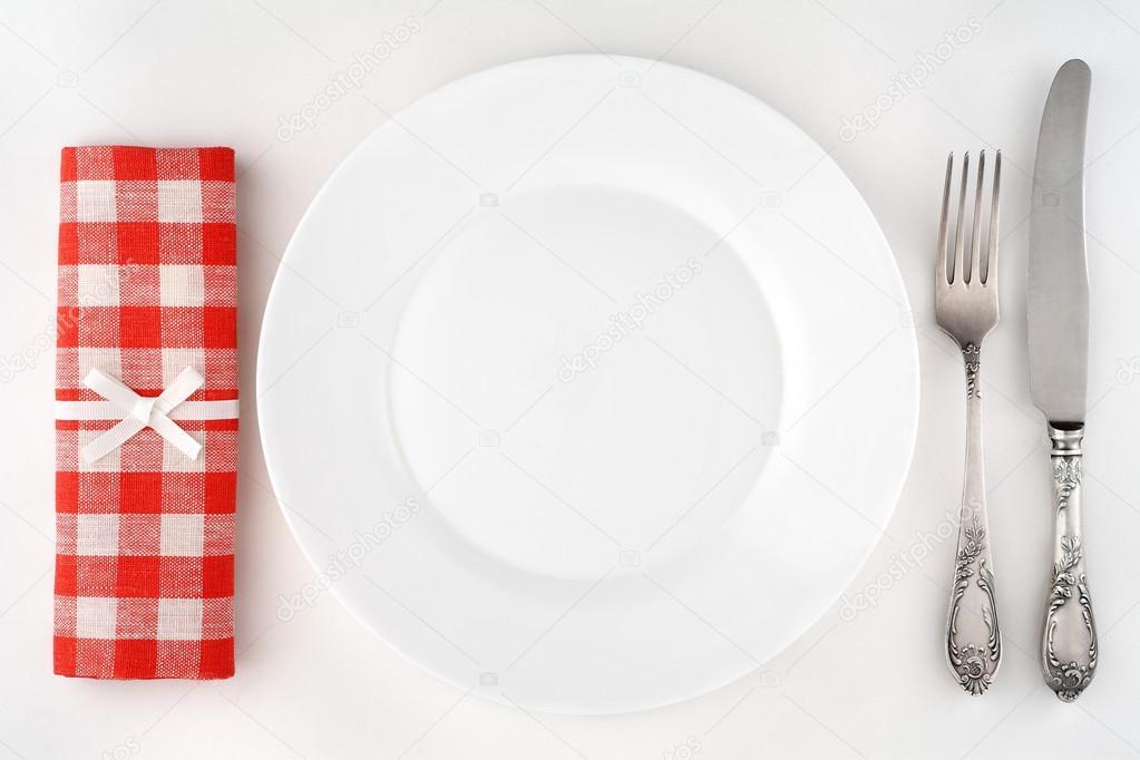 Vintage cubiertos con tenedor cuchillo plato y for Plato tenedor y cuchillo