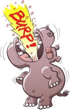 Hippopotamus rising his head