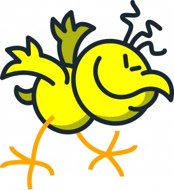 Yellow chicken  moving frenetic