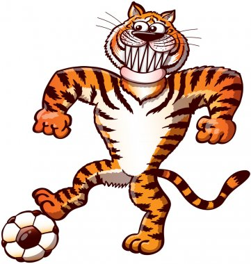 Tiger stepping on a soccer ball