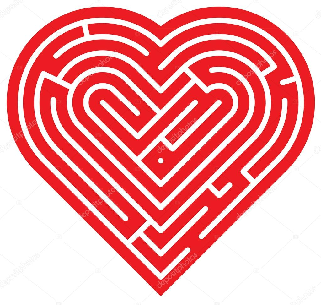 Big red heart showing several intricate paths which compose a complex labyrinth of love clipart vector