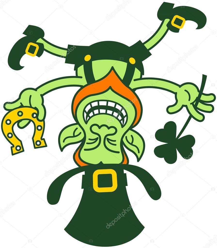 Green Leprechaun Smiling And Balancing Upside Down On His Hat