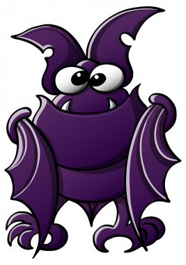 Cute little bat with purple fur, big ears, sharp fangs and bulging eyes while staring at you, folding its wings, posing, smiling shy and standing in front of you stock vector