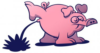 Pink pig with long snout