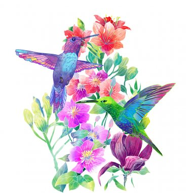 Exotic flowers and birds