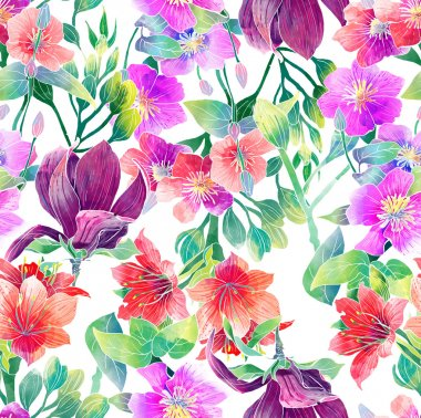 Pattern of exotic flowers