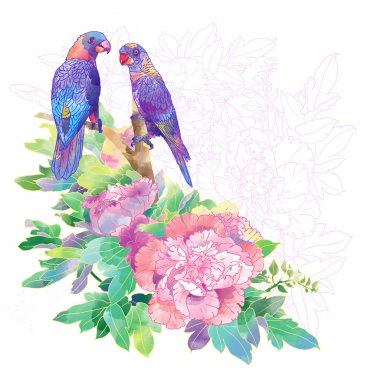 Parrots and exotic flowers