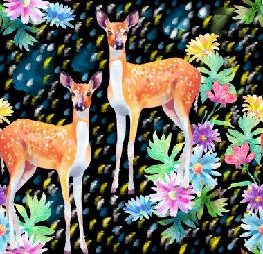 Artwork deers and flowers