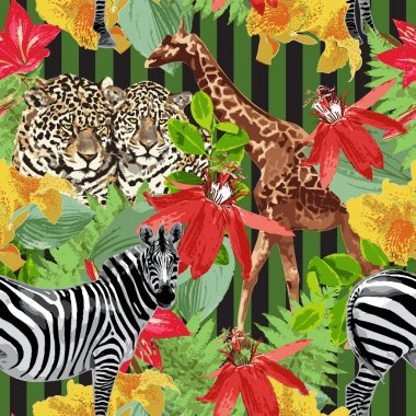 Leopards, zebra, giraffe and flowers