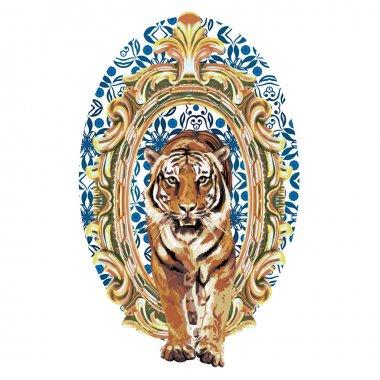 Wild tiger in vintage frame
