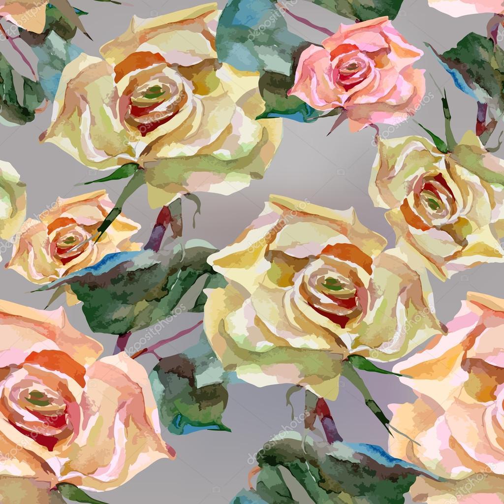 artwork watercolor flowers roses