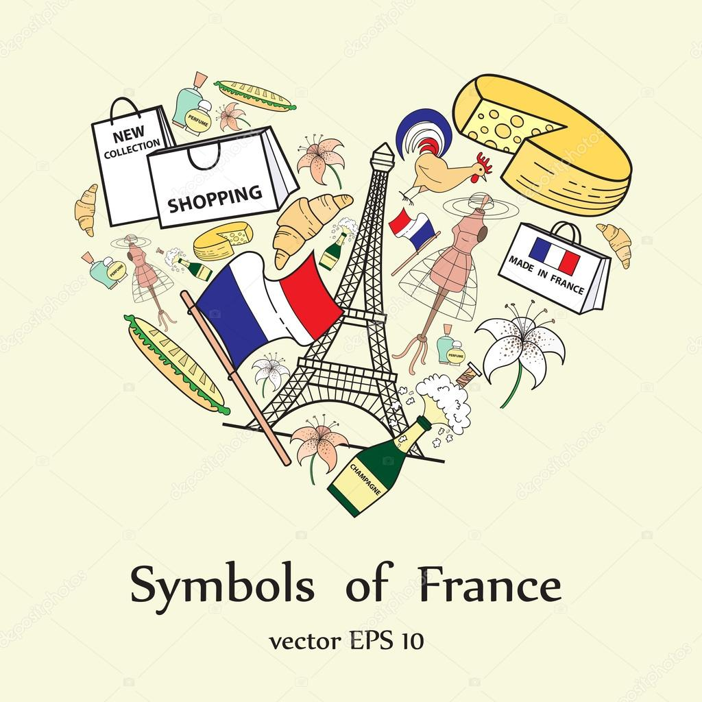 Stylized Heart With Symbols Of France Stock Vector