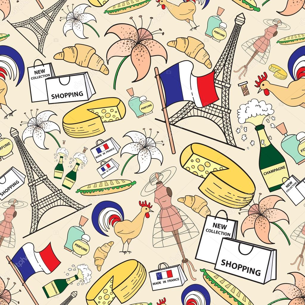 Vector Seamless Pattern With Symbols Of France Stock Vector