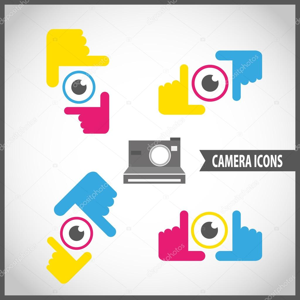 Framing Hände Kamera-Icon set — Stockvektor © kup #45998785