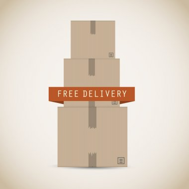 Free delivery cardboard boxes vector background