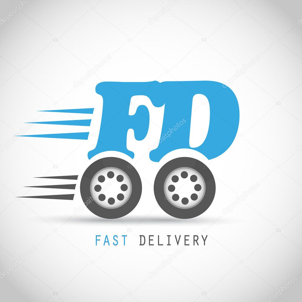Fast delivery symbol on wheels
