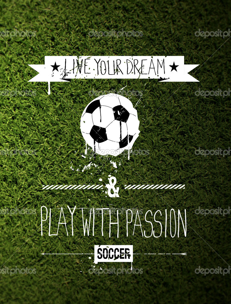 цитата типографии футбол на траве стоковое фото Kup