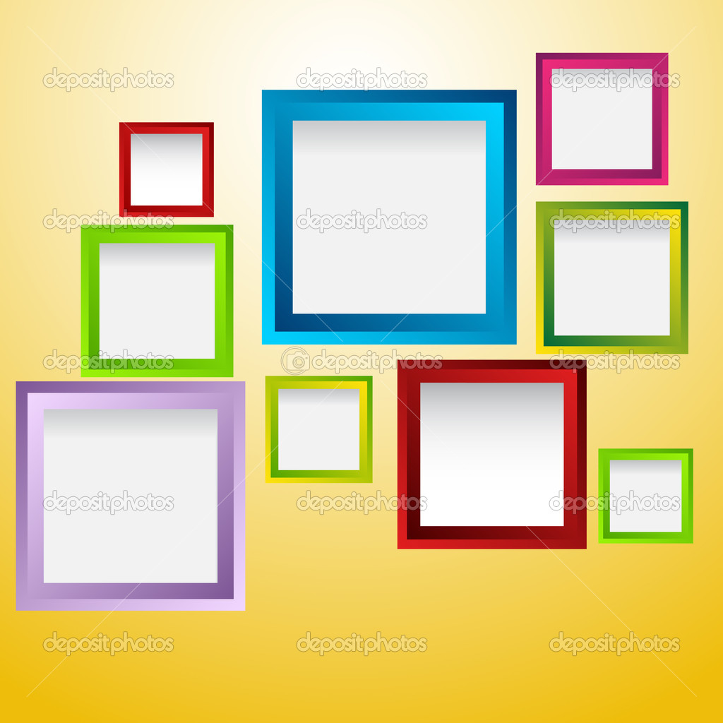 Colored frames on the yellow wall — Stock Vector © eduardrobert ...