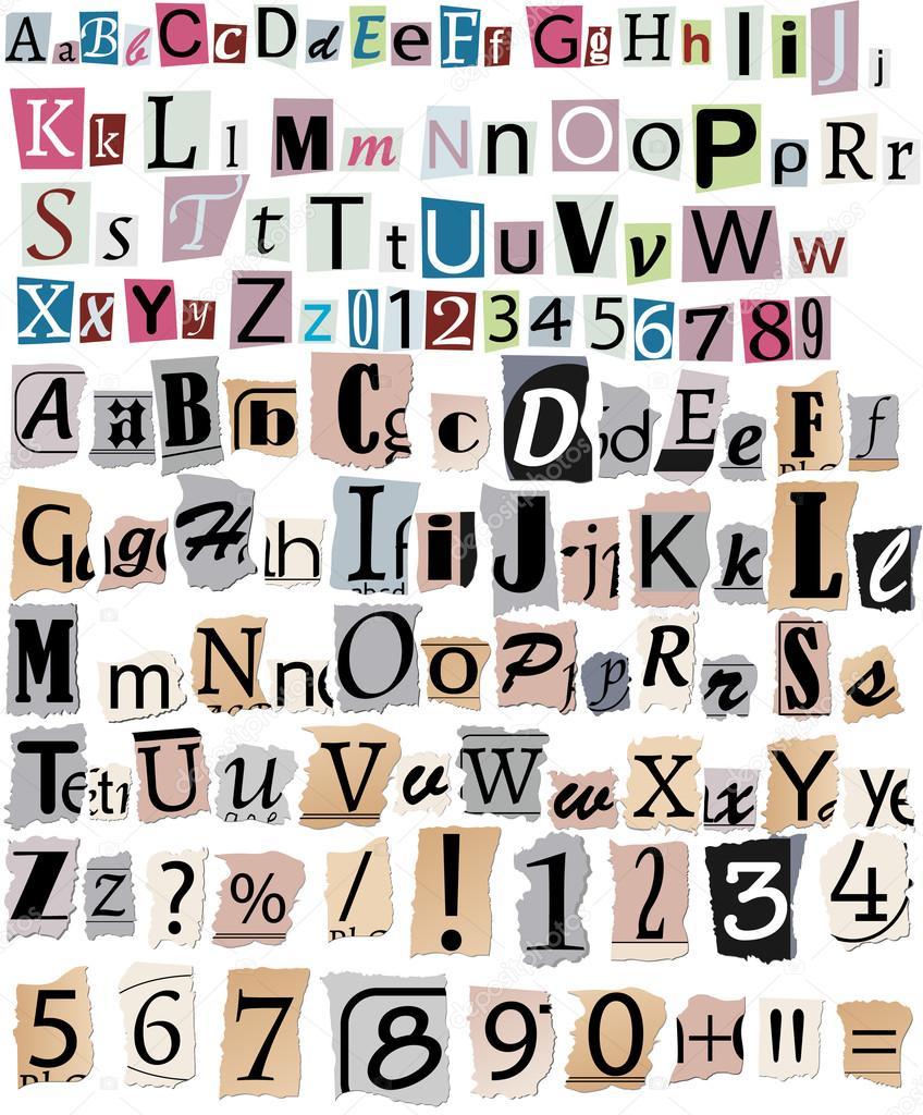 Letras de periódico — Archivo Imágenes Vectoriales © eduardrobert ...