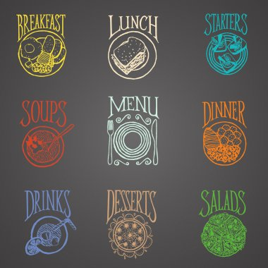 MENU ICON MEALS - Meals colourful on blackboard stock vector