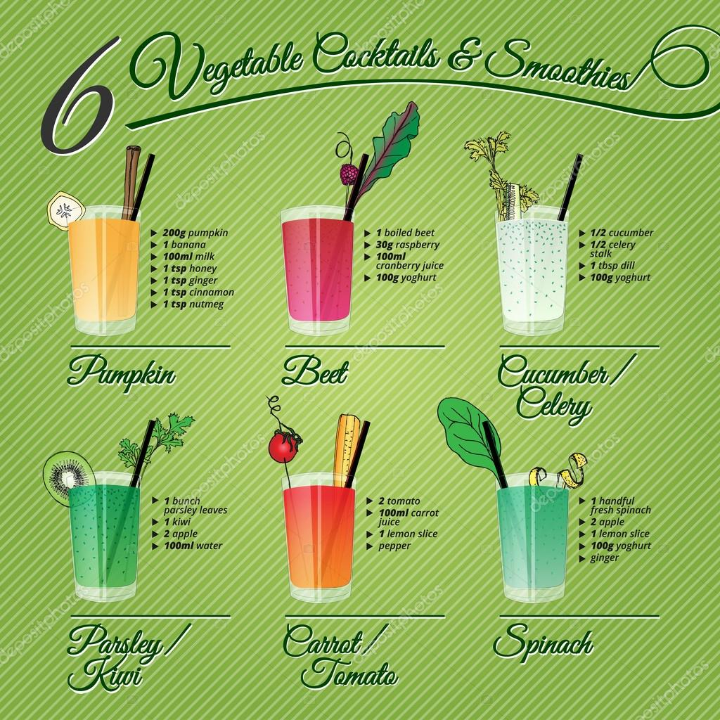 SIX FRESH VEGETABLE COCCTAILS & SMOOTHIES