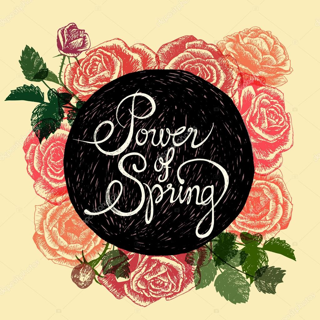 POWER OF SPRING   FLOWERS QUOTE U2014 Stock Vector