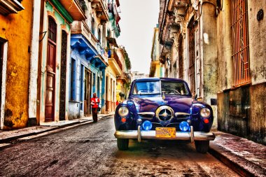 Old car from the streets and roads of cuba. stock vector
