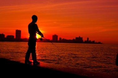 Havana fishermen at sunset
