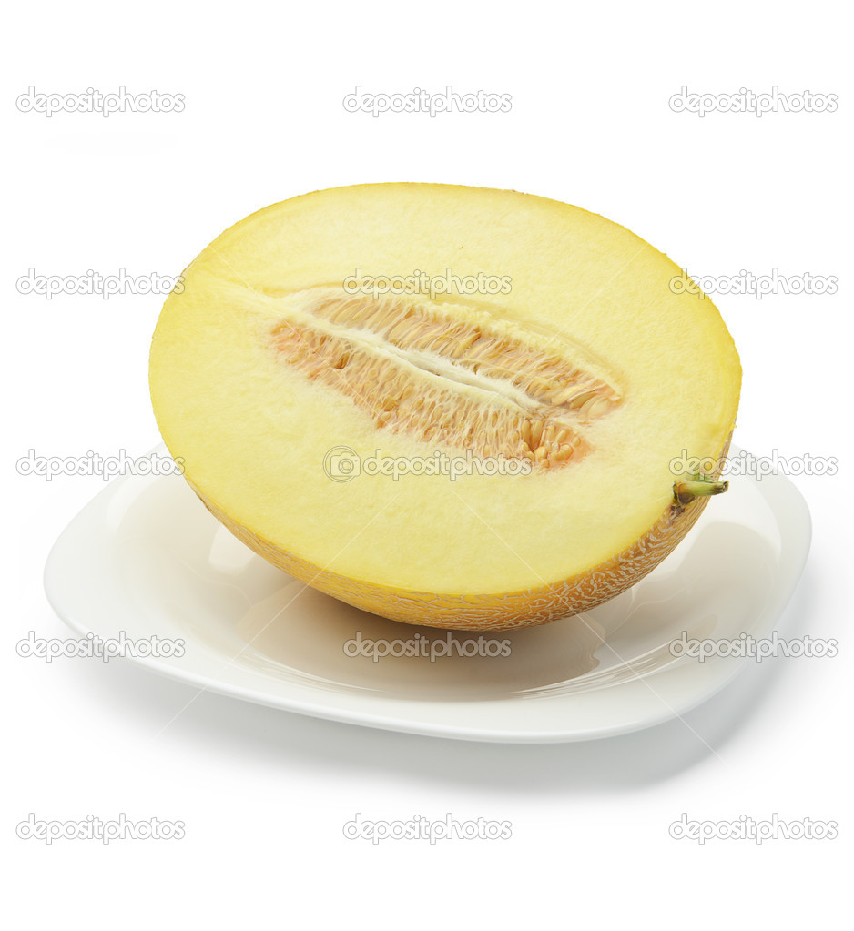 Half Of Cantaloupe Melon On Plate Stock Photo C Bogdandreava 50999767 But this time you want those flat i will show you how to get 8 wedges from this cantaloupe half (16 wedges, if you cut the whole. https depositphotos com 50999767 stock photo half of cantaloupe melon on html